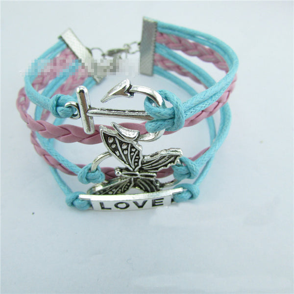 Butterfly Anchor Love Retro Leather Woven Friendship Bracelet