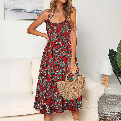 Boho Printed Button Decorated Midi Dress