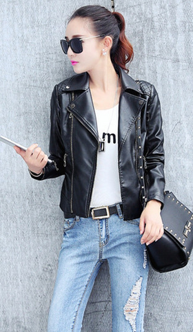Oblique Zipper Lapel Pockets Rivet Crop Jackets - Meet Yours Fashion - 1