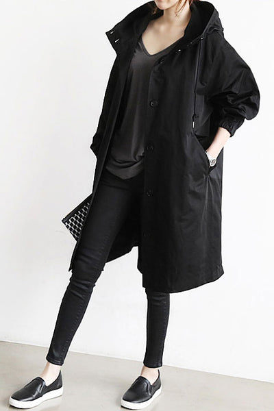 Solid Color Button Loose Long Hooded Coat