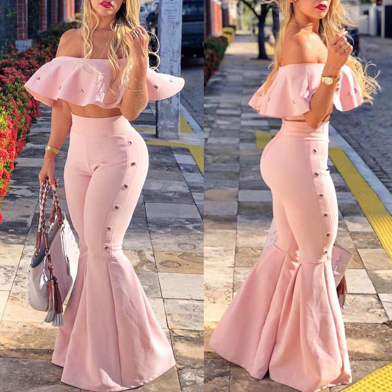 Off Shoulder Crop Top Ruffle Bell Bottom Pants Set