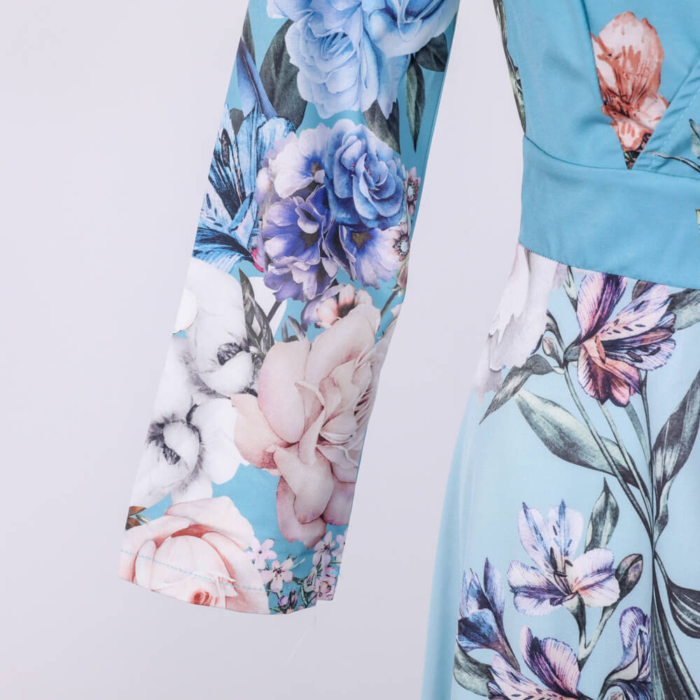 3/4 Sleeve V Neck Slits Floral Maxi Dress