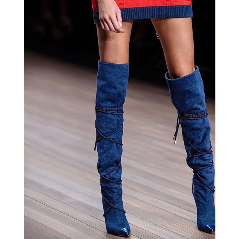Blue Strap Pointed Toe High Heel knee High Boots