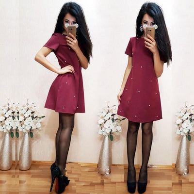 Pure Color Scoop Half Sleeves Short Lovely Dress