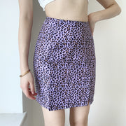 Sexy Purple Leopard Bodycon Mini Skirts