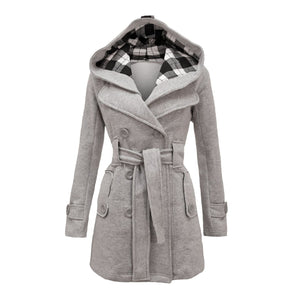 Plus Size Double Breasted Long with Belt Hooded Coat - MeetYoursFashion - 5
