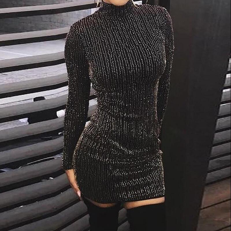 Black Beaded Bodycon Short Dress