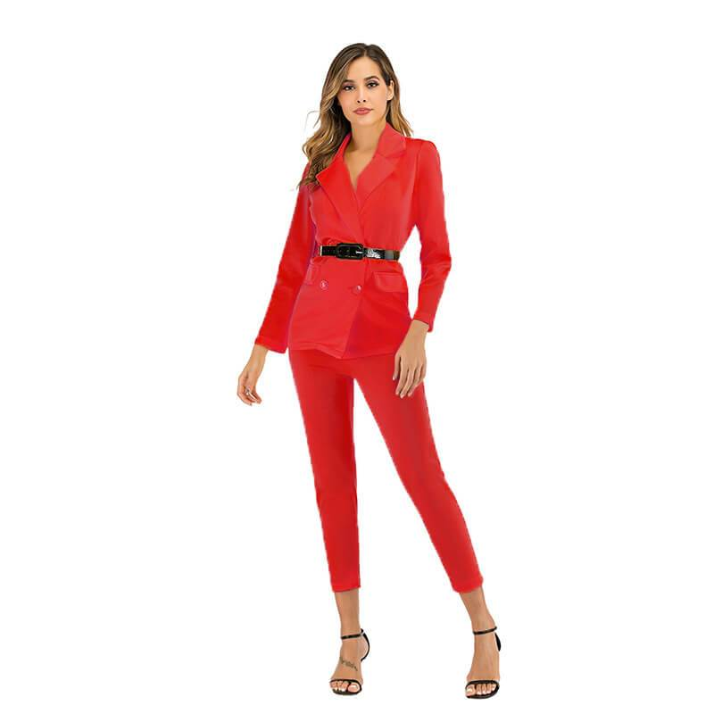 Professional High Waist Bodycon Skinny Long Sleeve Blouse Pants Sets