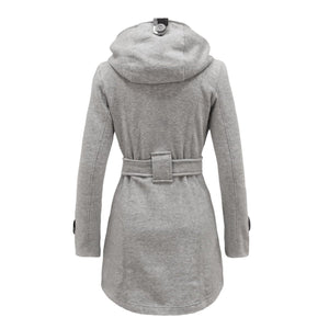 Plus Size Double Breasted Long with Belt Hooded Coat - MeetYoursFashion - 10