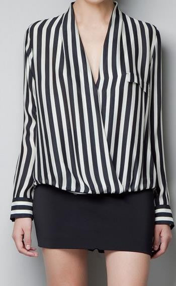 Striped Deep V-neck Long Sleeves Slim Chiffon Blouse - Meet Yours Fashion - 1