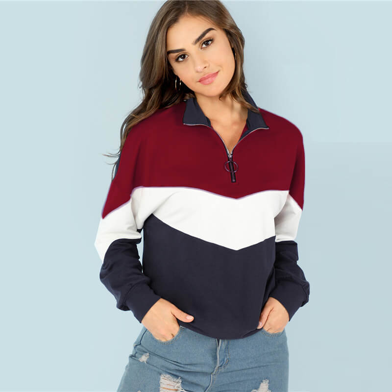 Zipper Up Colorblock Loose Hoodies