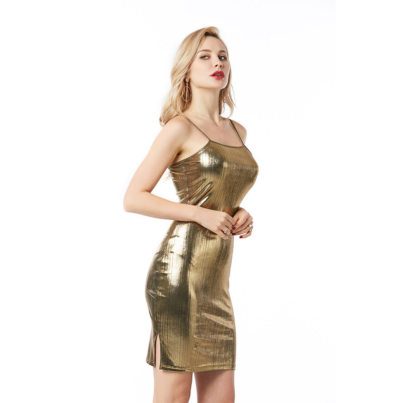 Shinning Spaghetti Straps Short Bodycon Dress