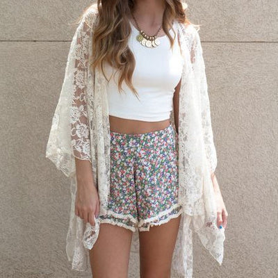 Lace Pure Color Long Sleeve Cardigan Blouse