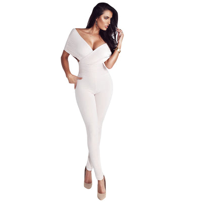 Off Shoulder Deep V-neck Band Waist Long Skinny Jumpsuits