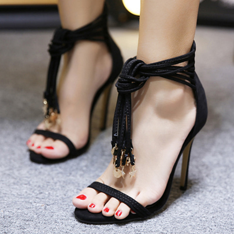 Ankle Straps Wrap Open Toe Stiletto Heels Sandals
