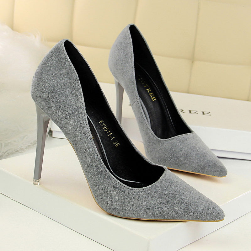 Suede Pointed Toe Stiletto Heel Low Cut High Heels Party Shoes