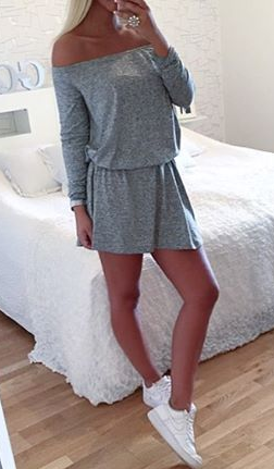 Pure Color Off Shoulder Long Sleeve Short Dress - Meet Yours Fashion - 2