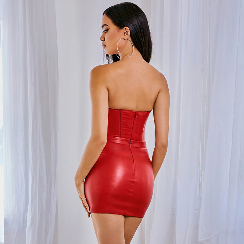 Party PU Strapless Stretch Backless Bodycon Dress