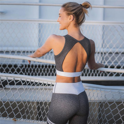 Open Back Crop Top with Patchwork High Waist Long Legging Two Pieces Yoga Sports Set