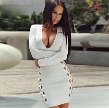 Hollow Out V-neck Long Sleeves Bodycon Short Dress