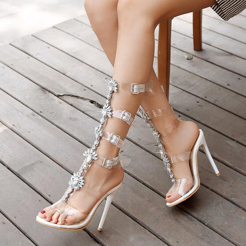 Clear Flower Plastics Open Toe Buckle Sandals
