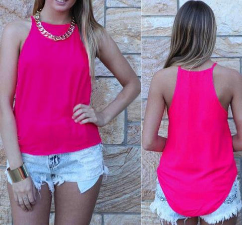 Spaghetti Strap Sleeveless Pure Color Slim Vest - Meet Yours Fashion - 4
