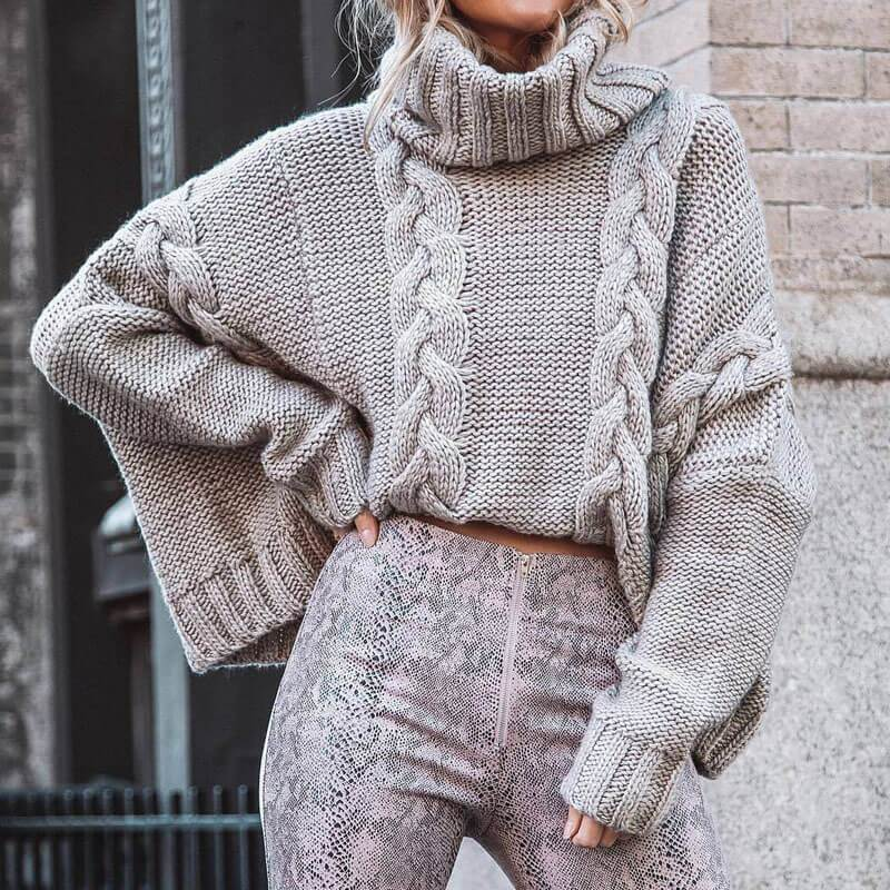 Cable Knitted Batwing Turtleneck Pullover Sweater