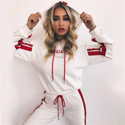 Patchwork Drawstring Cropped Hoodie Loose Long Pants Women Two Pieces Sports Set