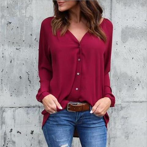 V-neck Loose Button Pure Color Long Sleeves Blouse