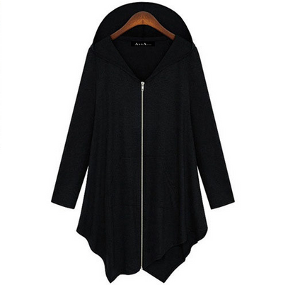 Zipper Asymmetric Large Cardigan Hooded Solid Color Hoodie - Meet Yours Fashion - 2