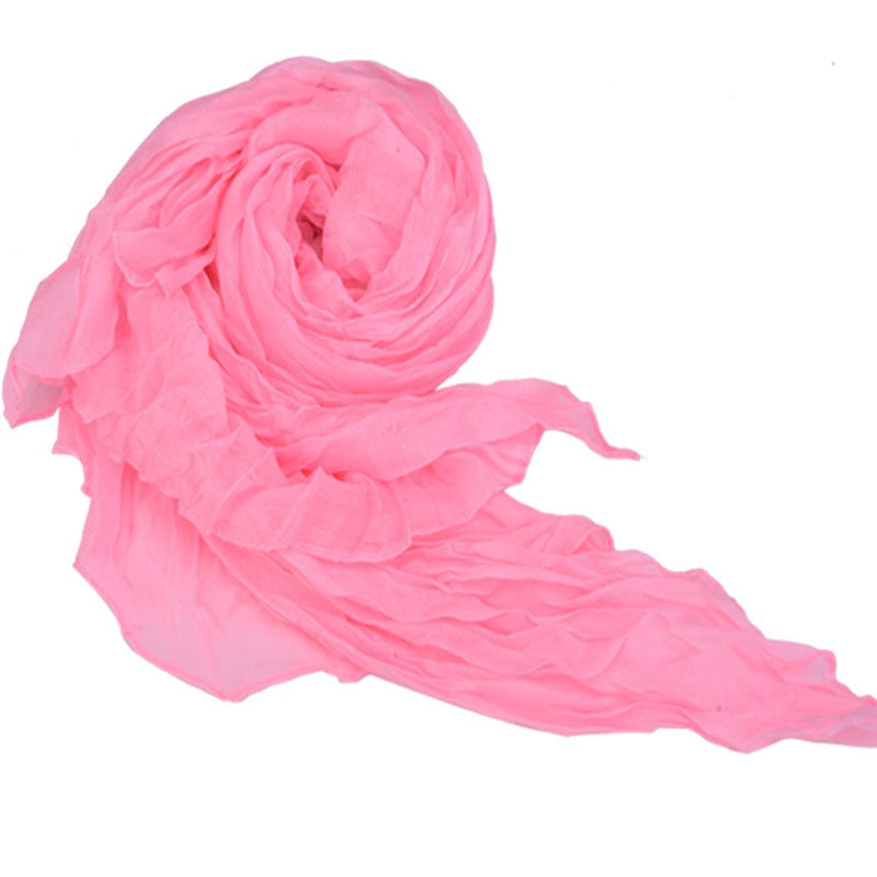 Long Crinkle Scarf Wraps Soft Shawl Stole Pure Color - MeetYoursFashion - 3