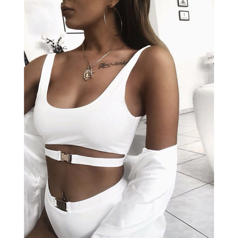Straps Hasp Hollow Out High Waist Two Pieces Swimwear