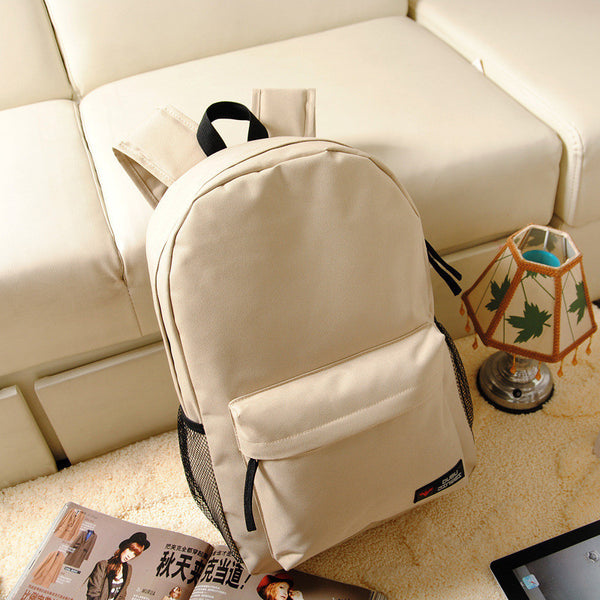 Pure Color Korean Style Flexo Backpack - Meet Yours Fashion - 3