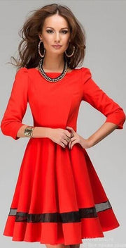 Fashion Long Sleeves Pure Color Short Dress