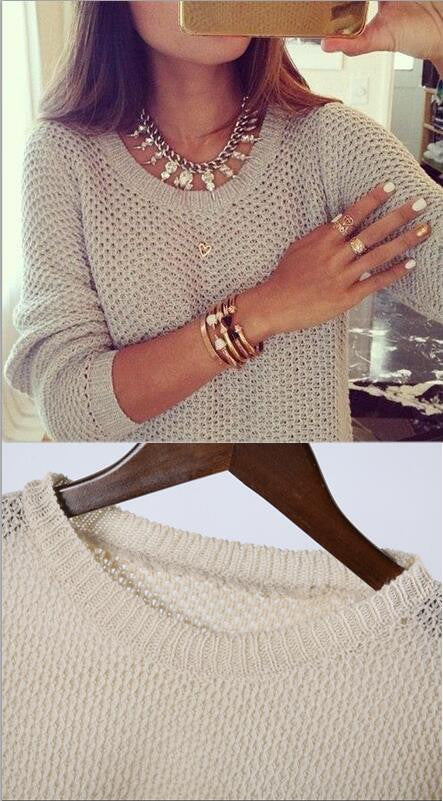 Round Collar Hollow Out Casual Sweater