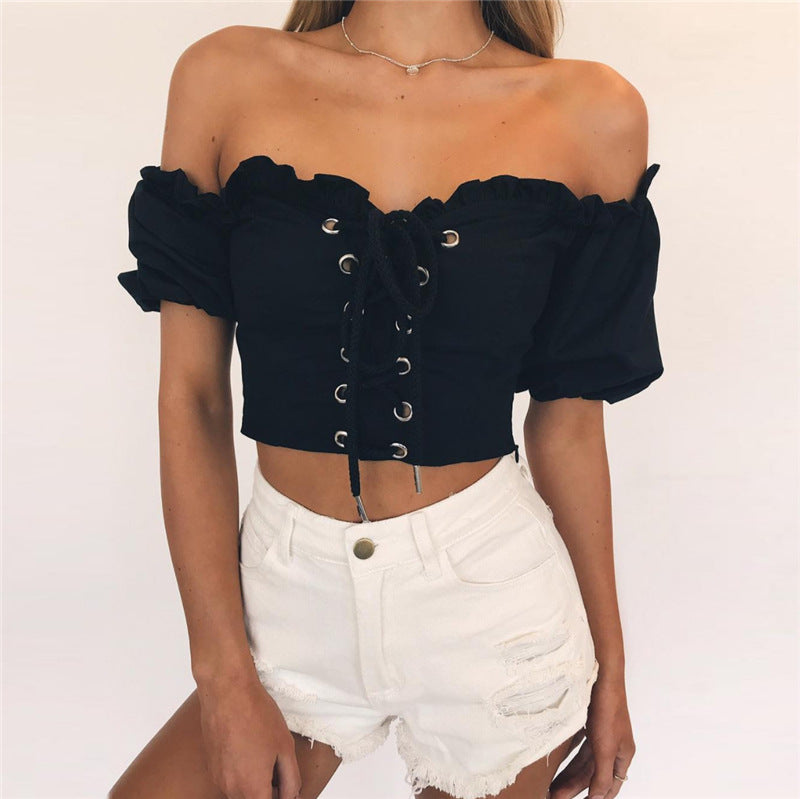 Strapless Lace Up Solid Color Crop Top