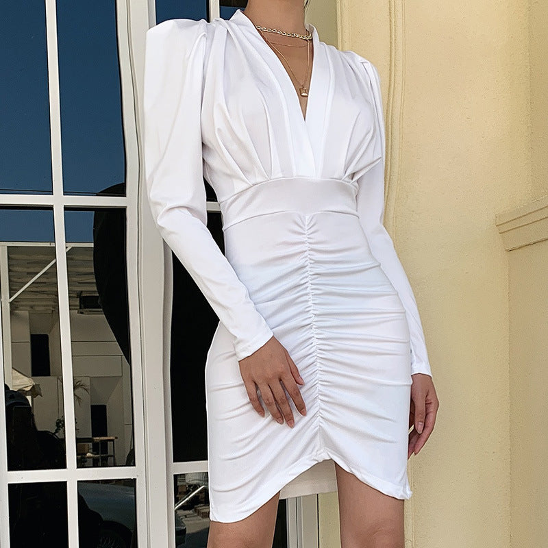 V Neck High Waist Ruched Bodycon Dress