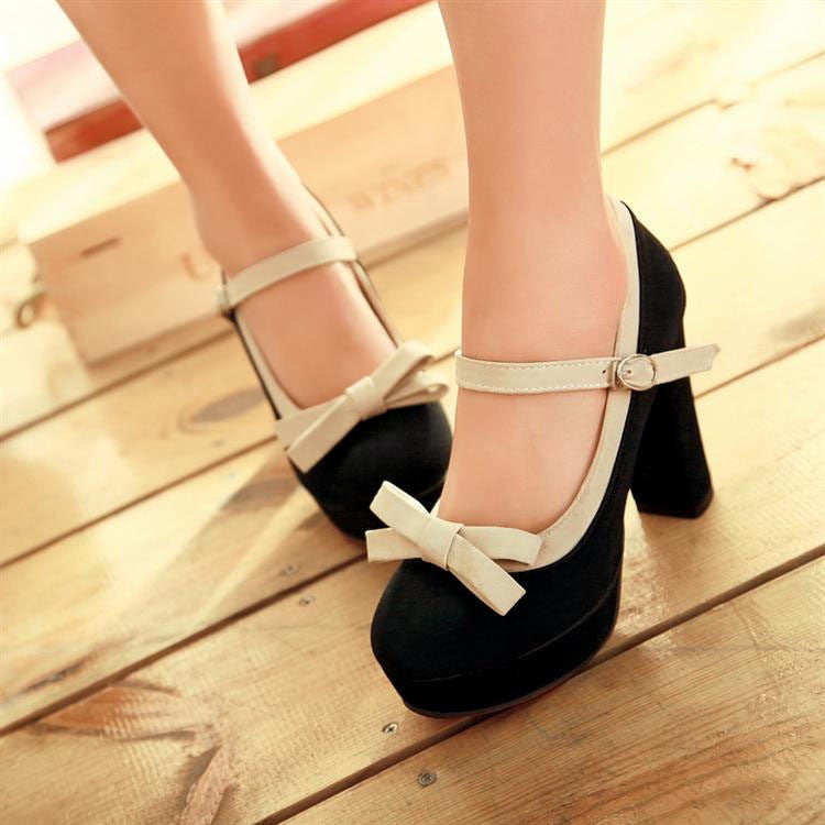 2a7b335ac4a4 ... Sweet Princess High Heels Lovely Bowknot Color Matching Shoes ...