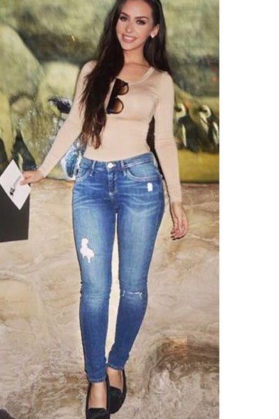 Beggar Style Cut Out Hole Long Skinny Jeans Denim Pants