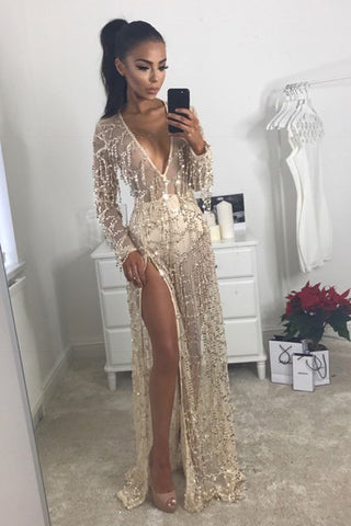 Deep V-neck Transparent Tassel Beach Split Long Dress
