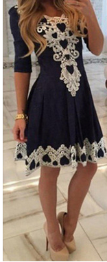Sexy Lace Flowered Splicing Short Sleeve V-neck Dress - Meet Yours Fashion - 2