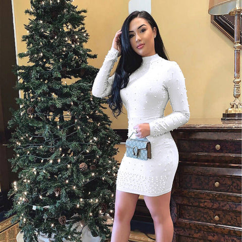 Turtleneck Beaded Knit Bodycon Dress