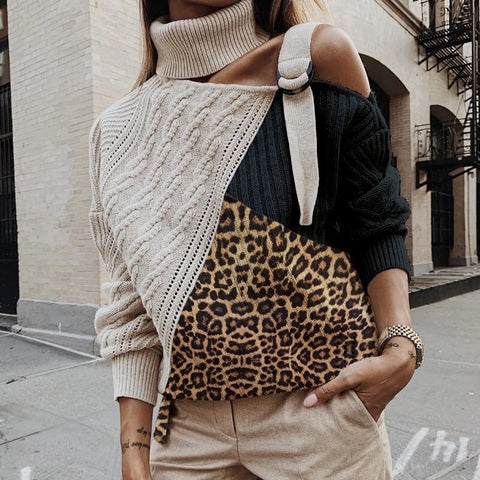Turtleneck Leopard Patchwork Single Strap Shoulder Sweater