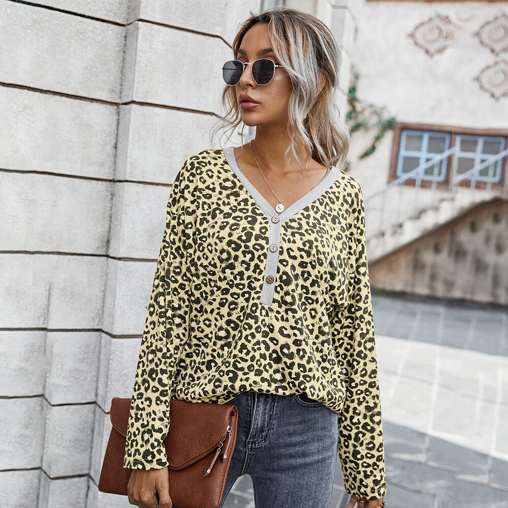 Leopard Half Button Knitted Top
