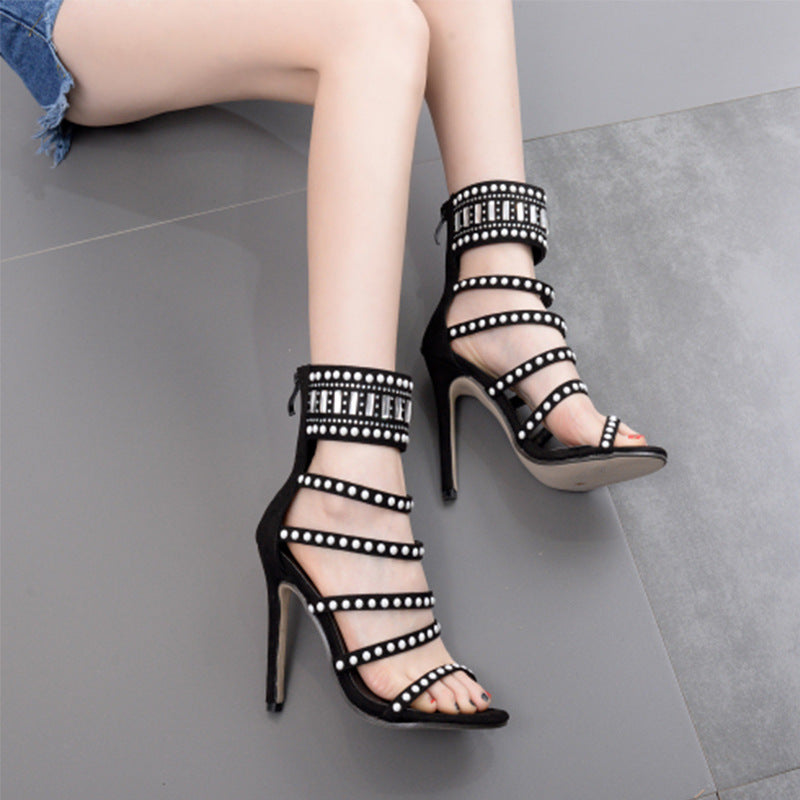 Diamond Straps Suede Open-toe Stiletto High Heels Sandals