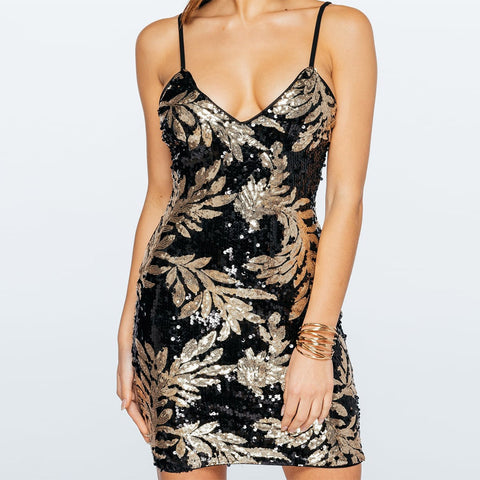 Deep V-neck Sequins Spaghetti Straps Short Bodycon Dress