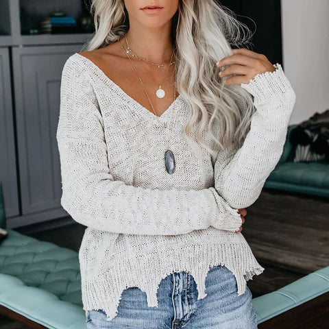 V Neck Irregular Solid Knit Sweater