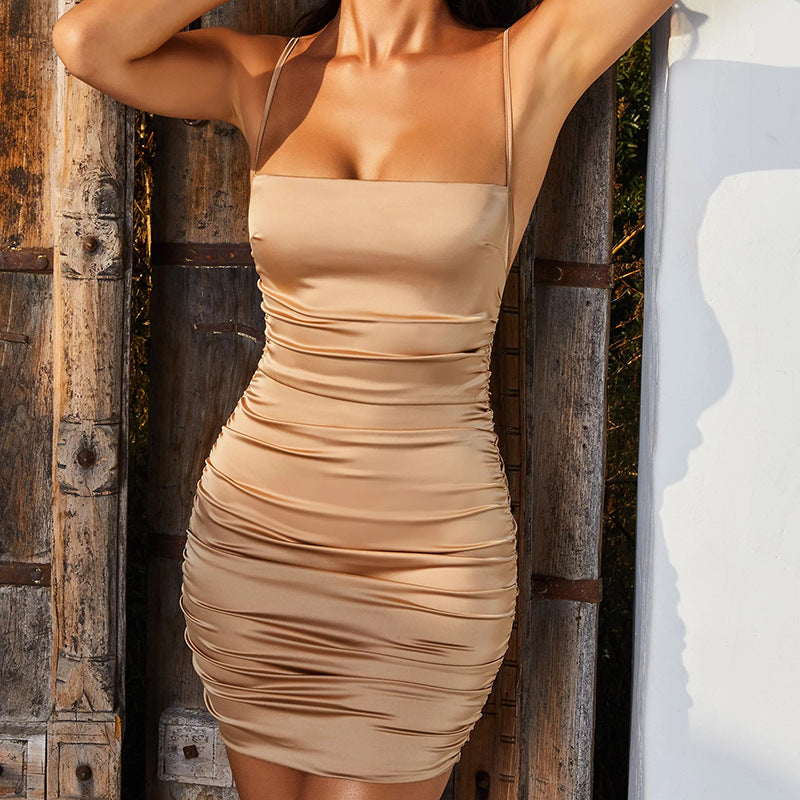 Plain Spaghetti Strap Backless Ruched Bodycon Dress