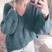 Oversized V Neck Pure Color Knit Sweater