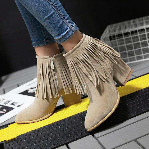 Fringe Suede High Chunky Heel Ankle Boots
